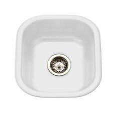 """Porcela 17.32"""" x 15.59"""" Porcelain Enameled Steel Undermount Square Bar Sink"""