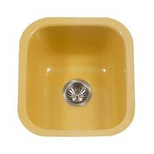 """Porcela 15.59"""" x 17.32"""" Porcelain Enameled Steel Undermount Square Bar Sink"""
