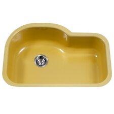 """Porcela 31.26"""" x 20.67"""" Porcelain Enameled Steel Designer Offset Undermount Single Kitchen Sink"""