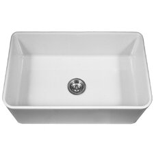 "Platus 33"" x 20"" Apron Front Fire Clay Large Single Bowl Kitchen Sink"