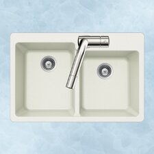 "Quartztone 33"" x 22"" 60/40 Double Bowl Topmount Kitchen Sink"