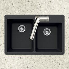 "Quartztone 33"" x 22"" 60/40 Double Bowl Topmount Kitchen Sink"
