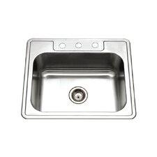 "Glowtone 25"" x 22"" Topmount Single Bowl 20 Gauge Kitchen Sink"