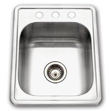 "Glowtone ADA Compliant 22"" x 17"" Topmount Single Bowl 22 Gauge Kitchen Sink"