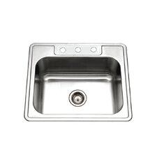"Glowtone 25"" x 22"" Topmount Single Bowl 18 Gauge Kitchen Sink"