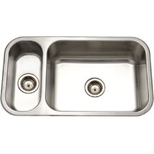 "Elite 31.5"" x 15.75 - 17.94"" Undermount Double Bowl 80/20 Kitchen Sink"