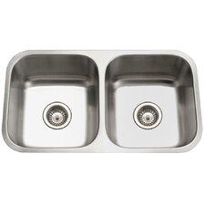 "Eston 31.25"" x 17.75"" Undermount 50/50 Double Bowl Kitchen Sink"
