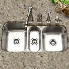 """Medallion Gourmet 39.81"""" x 17.94 - 20.19"""" Undermount Triple Bowl Kitchen Sink"""