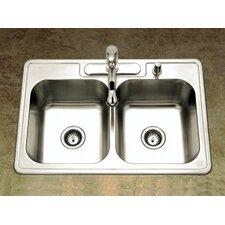 "Glowtone 33"" x 22"" Topmount Double Bowl 20 Gauge Kitchen Sink"