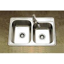 "Glowtone 33"" x 22"" Topmount Double Bowl 20 Gauge Kitchen Sink with StoneGuard Undercoating"