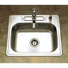 "Glowtone ADA Compliant 25"" x 22"" Topmount Single Bowl 18 Gauge Kitchen Sink"