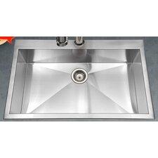 "Bellus 33"" x 22"" Zero Radius Topmount Large Single Bowl Kitchen Sink"