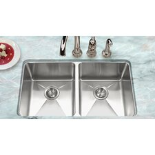 """Nouvelle 31.13"""" x 18"""" Undermount 50/50 Double Bowl Kitchen Sink"""