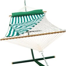 Cotton Rope Hammock with Hanging Hardware, Hammock Pad and Coordinating Pillow