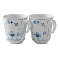 Blue Fluted Plain 12.5 oz. Mugs (Set of 2)
