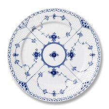 "Blue Fluted Half Lace 9.75"" Luncheon Plate"