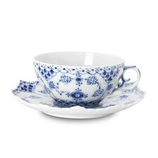 Blue Fluted Full Lace 7.5 oz. Teacup and Saucer