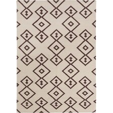 Lima Flat Weaved Rectangle Reversible Wool Brown/Cream Area Rug