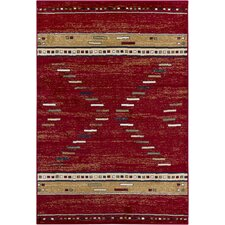 Taj Red Abstract Area Rug
