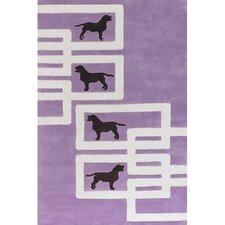 Avalisa Dog Purple/White Novelty Rug