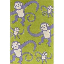 Kids Green Monkey Area Rug