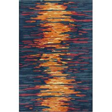 Stella Patterned Contemporary Wool Blue/Orange Area Rug