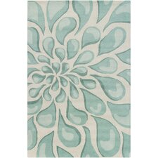Stella Patterned Contemporary Wool Beige/Aqua Area Rug