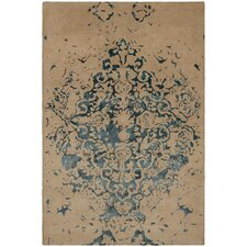 Veleno Patterned Contemporary Tan/Teal Area Rug