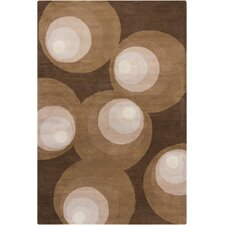 Stella Patterned Contemporary Wool Brown Area Rug