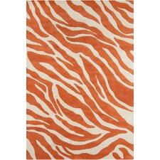 Stella Patterned Contemporary Wool Orange/White Area Rug