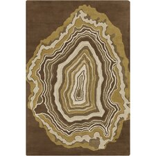 Allie Hand Tufted Wool Brown Area Rug