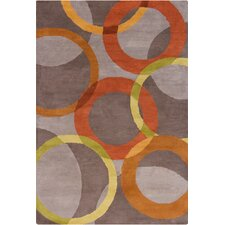 Allie Hand Tufted Wool Warm Gray/Orange Area Rug