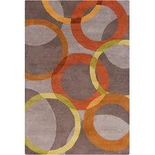 Allie Hand Tufted Wool Warm Gray/Orange Area Rug