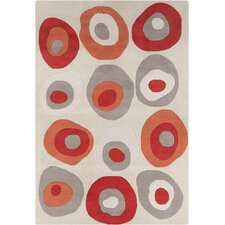 Allie Hand Tufted Wool Cream/Red Area Rug