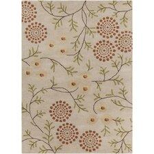 Int Hand Tufted Rectangle Contemporary Cream/Orange Area Rug