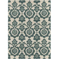INT Hand Tufted Rectangle Contemporary Green/Cream Area Rug