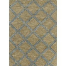 INT Hand Tufted Rectangle Contemporary Blue/Tan Area Rug