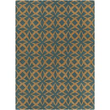 INT Hand Tufted Rectangle Contemporary Blue/Gold Area Rug