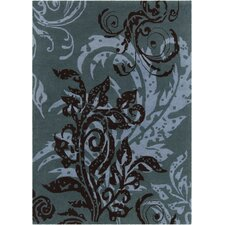 INT Hand Tufted Rectangle Transitional Blue/Black Area Rug