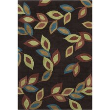 Allie Hand Tufted Wool Dark Brown/Green Area Rug