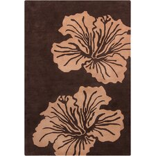 Allie Hand Tufted Wool Light Brown/Dark Brown Area Rug
