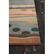 Bajrang Hand Tufted Contemporary Wool Orange/Gray Area Rug