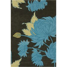 Amy Butler Black/Gray Chrysanthemum Area Rug
