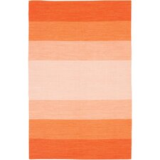 India Orange Striped Area Rug