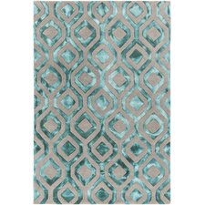 Fran Hand-Tufted Teal/Gray Area Rug