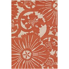 Counterfeit Contemporary Designer Orange Area Rug