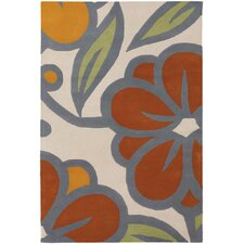Inhabit Designer Ivory/Orange Area Rug