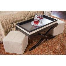 Elegant Upholstered 3 Piece Bench & Ottoman Set