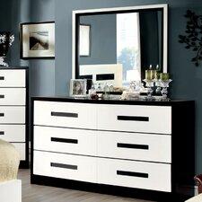 Verzaci 6 Drawer Dresser with Mirror