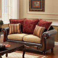 Philip Cotton and Leatherette Loveseat